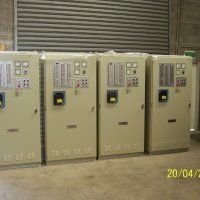 Four identical stand alone control panels featuring fully automatic operation ready for dispatch to Malaysia.