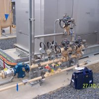 A compact natural gas valve train for a 250kW standby generator.