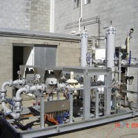 A complex natural gas handling system for a remote power station ready for test.