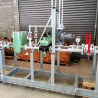 Gas pressure reduction skid with OPSO and PSV protection.